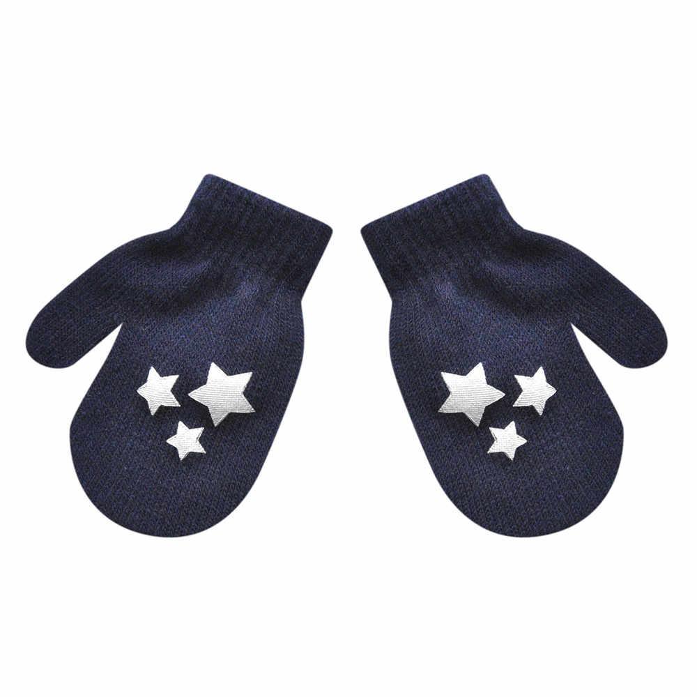 Зимние перчатки, украшенные звездами, милые утолщенные детские перчатки choenen, милый, для новорожденных и малышей, популярные зимние теплые перчатки для мальчиков и девочек, цветные, 1N7