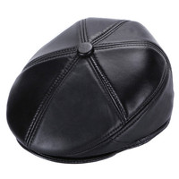 Autumn Winter Fashion Men S Hat Black Sheepskin Leather Beret Hats Earflaps Cap Warm Bone Dad