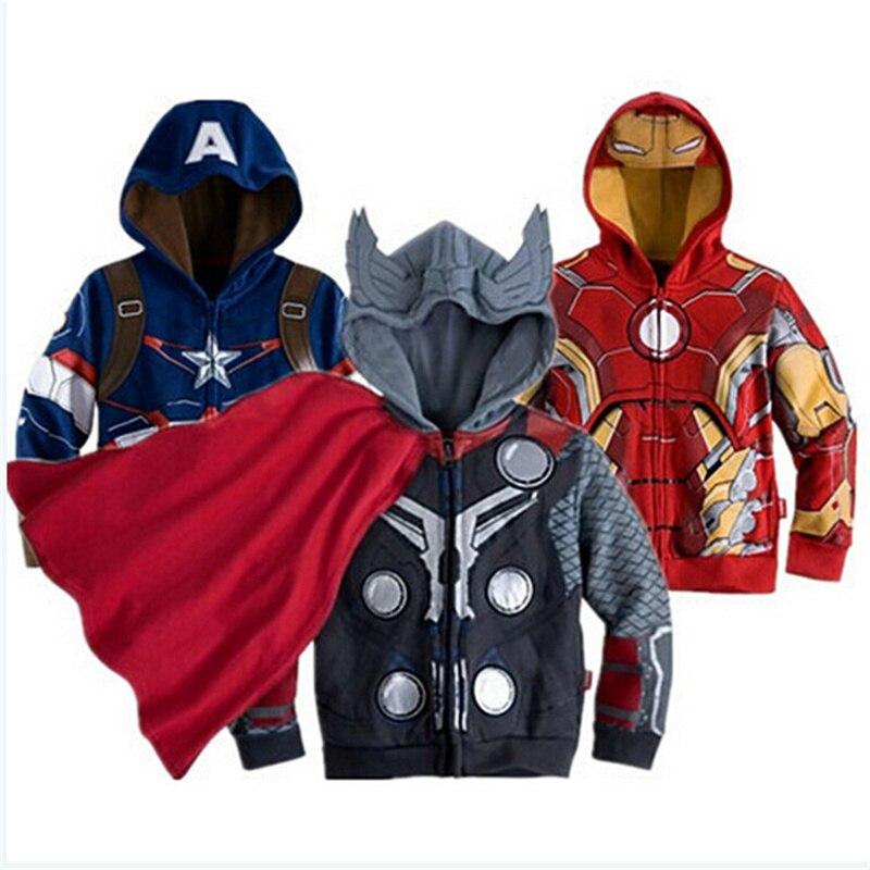 Autumn Boys Jacket Kids Jackets Winter Children Outerwear Iran Man Hoodies Coat Spiderman American Captain Costume Hulk Clothes