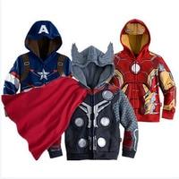 New Spring Children Cartoon Boy Hooded Jacket Super Hero Captain America Avengers Cosplay Coat Outerwear Boys