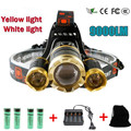 Led Headlamp Headlight CREE XML 3T6 9000 Lumens Head Led Light Lamp Rechargeable Searchlight lights flashlight torch For Hunting