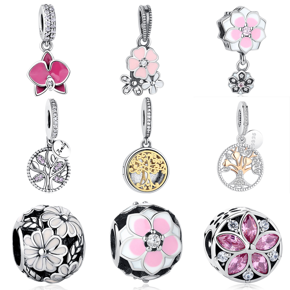 New Spring Tree/Flower Charms 925 Sterling Silver Poetic Blooms Bead Fits Original Pandora charms Bracelet Fashion Women Jewelry
