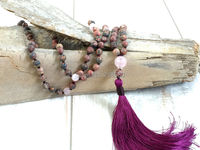 M60624561 Knotted Leopard Jasper Beads Necklace With Purple Red Silk Tassel Necklace