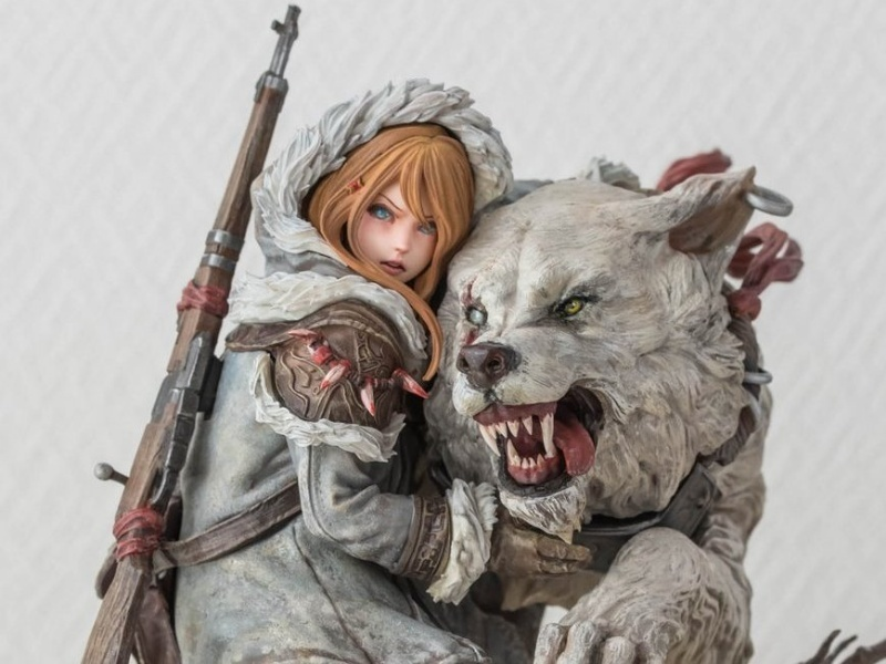 Resin Figure Kit Girl with Wolf Unpainted Garage Model Kit
