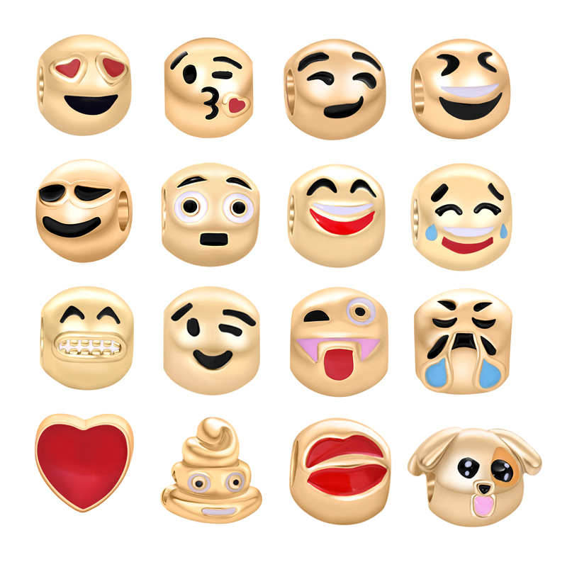 Gold Emoji Charms Fit Pandora Charms Bracelet Top Quality European Spacer Berloque Mixed Beads For Jewelry Making 16PCS