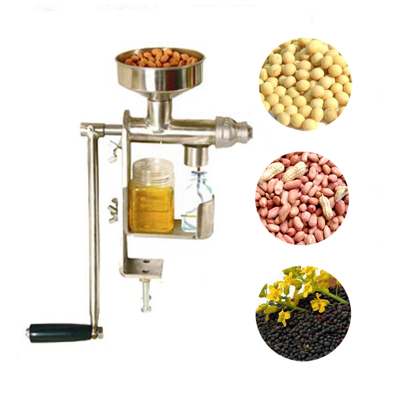 1pc Manual Oil Presser Machine Household Peanut Seeds Nuts Soya Oil Expeller Press Health Stainless Steel Oil Extractor HY-03 1pc manual stainless steel oil press peanut nuts seeds oil press expeller oil extractor machine