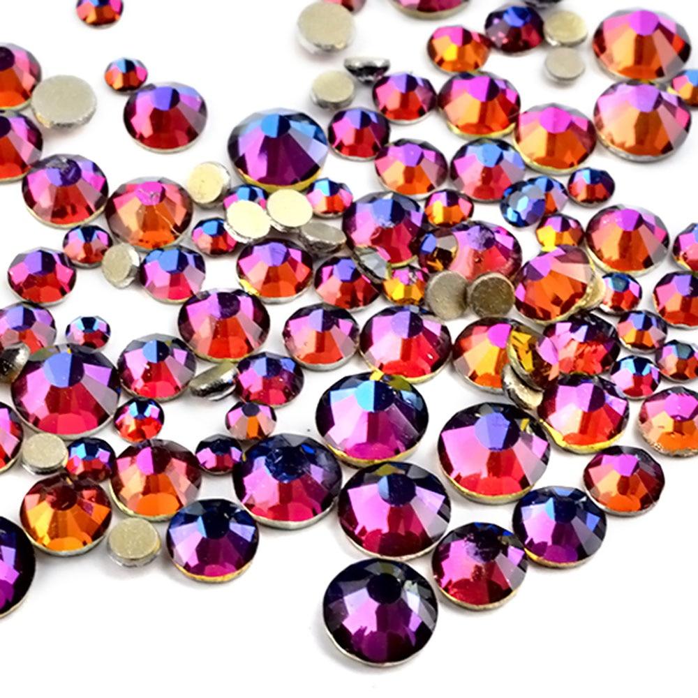 ELECOOL 300Pcs Pac Non HotFix Glitter Glass Rhinestones Nail Art Decoration Accessories Mix Size 24 Color