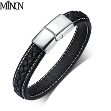 MINCN 2018 Cross Braided Design Leather Bracelet for Men Women Stainless Steel Magnetic Button Charm Cuff Bangle Gift For men