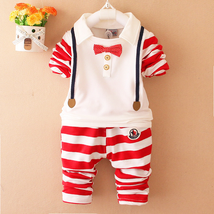 Cute boys and girls clothing set spring autumn kids clothes navy long sleeve pullover striped suit for children