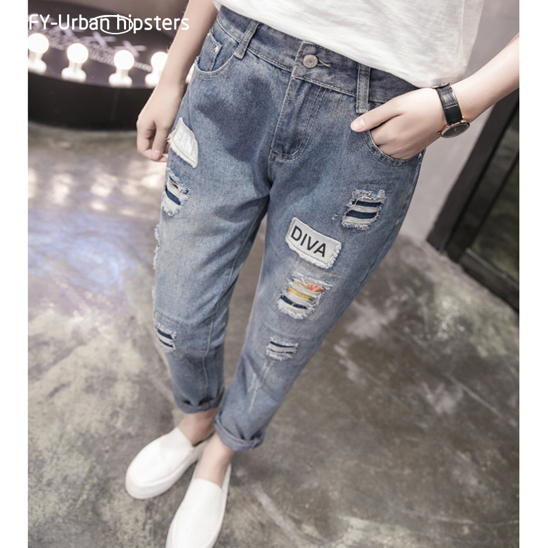 ripped jeans for plus size women 2018 autumn wear a new Korean version of women's fat jeans casual loose fashion trousers women