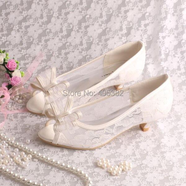 Aliexpress.com : Buy Wedopus Custom Handmade Ivory Lace Low Heel ...