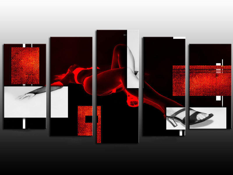 Emoldurado 5 painel grande pintura sexy girl black white red canvas art abstract wall decor a0811