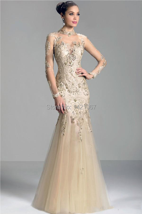 Custom made Long Sleeves Evening dresses 2015 High Neck Tulle Party Gowns - Veiai store