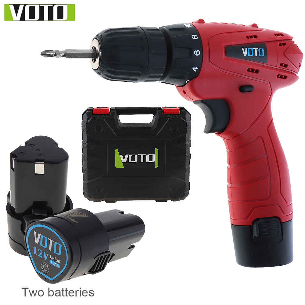12V VOTO AC 100 240V Cordless Electric Screwdriver with 2 Lithium Batteries and Plastic Box for
