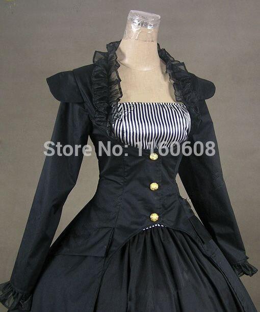 Robe Reenactor Gothique De Scène Marine Multi Vêtements Theatre Période pc Balle Noir 3 Victorienne Bleu Et Robes fq6g0f