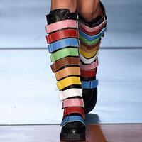 Женские сапоги из натуральной кожи с разноцветными ремешками и пряжками, сапоги до колена на толстой резиновой подошве с круглым носком, же