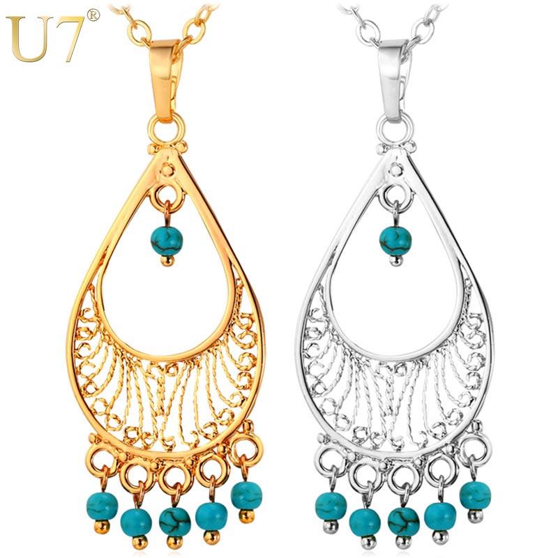 Silver Turkish Platinum: U7 Bohemian Jewelry Blue Stone Necklace Women Accessories