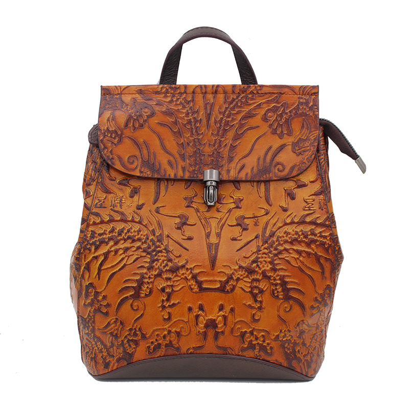 Vintage Trend Women Genuine Leather Embossed Backpack Famous Brand Female Daypack School Bag Casual Knapsack New