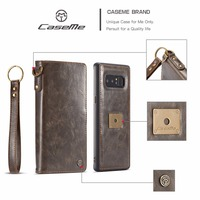 CaseMe Brand Elegant Business Flip Leather Detachable 2 in 1 Magnetic Snap Wallet Case for Samsung Galaxy Note 8 N9500 Fundas
