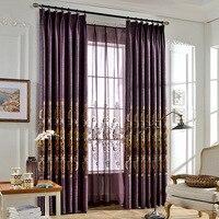 Phong Cách hiện đại Lanh Tự Nhiên Blockout Vải Rèm Thêu Hoa Tím Curtain đối Living Phòng Ngủ Phòng