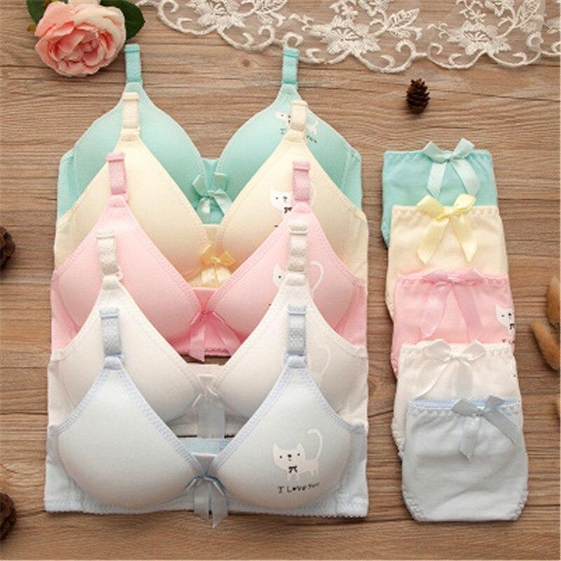 Teenage Girls Bra Sets Kawaii Cat Girl Underwear Training Bras Candy Color Comfortable Daughter Underwear Bra For Girl Student
