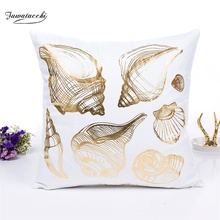 Fuwatacchi Gold Stamping Cushion Covers White Letter Printed Ocean Series Pillows Cover for Sofa Bedroom Decorative Pillowcases