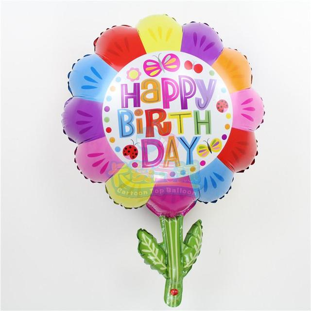 Happy Birthday Decoration Flower Balloons 20pcs Lot Green Leaf Colorful Foil Ballons Baby
