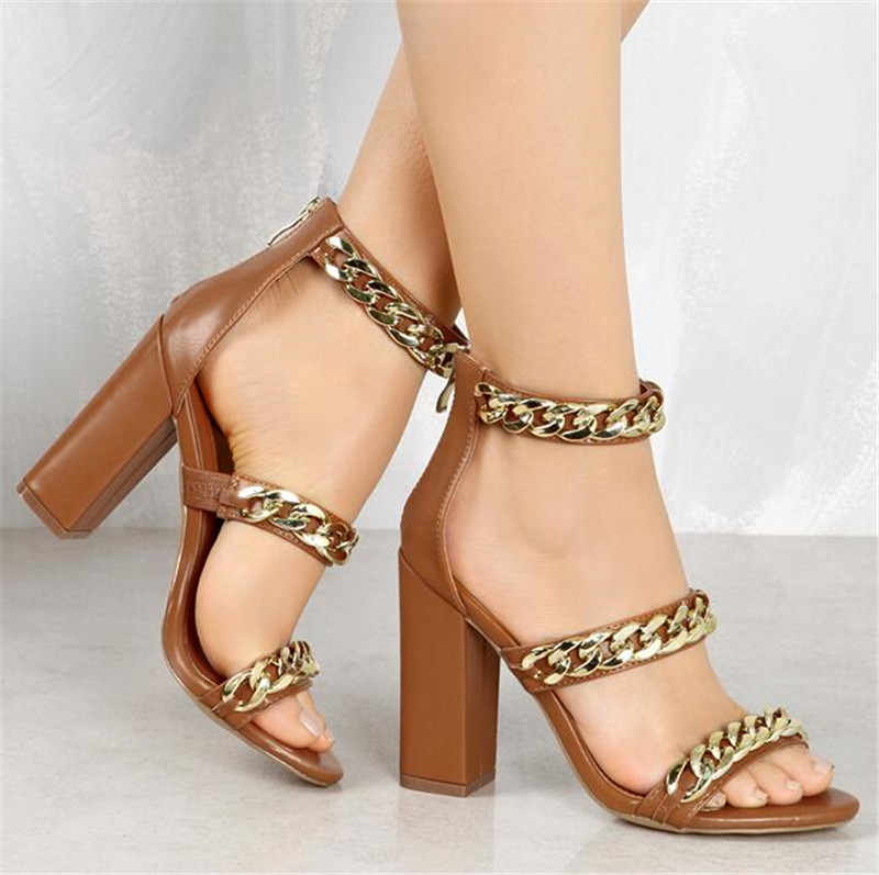 Sestito Ladies Fashion Chunky Heels Dress Party Shoes Woman Chian Embellished  Gladiator Sandals Female 3 Straps Zipper Sandals-in High Heels from Shoes  on ... 1b4908ef4e03