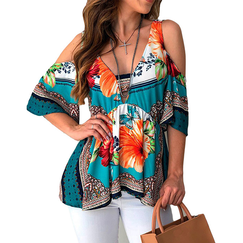 Sexy Off Shoulder Women Blouses Casual Half Sleeve Blouse Streetwear Floral Print Shirts Elegant Office Loose Shirt Tops Blusas
