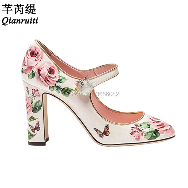 Qianruiti Rose Flower Printed Leather Woman Shoes Round Toe Block High Heels  Party Prom Footwear Cute d2733f4b9a2c