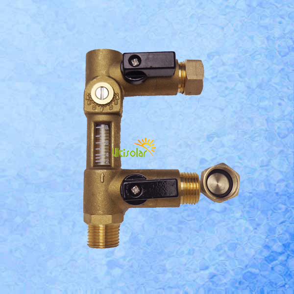 Brass Surge  Replenishing Valve Three Head G1/2 with flow meter  for Solar Water Heater Pump Station Filling and Flushing Unit 1 inch iron water valve bottom basket with bottom valve head shower valve underwater pump intake valve pump accessories
