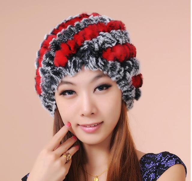 Women autumn striped stretch knit thick rabbit fur Skullies & Beanies hats lady oversized winter warm Ear protection fur cap