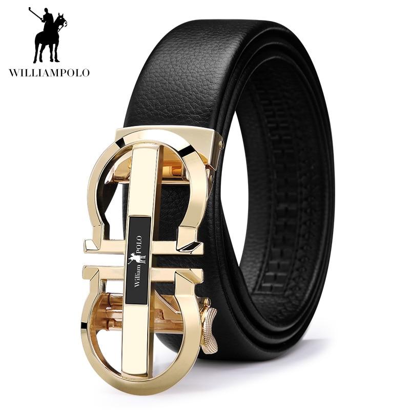 WILLIAMPOLO Men Belt Genuine Leather Cowhide Jeans Belt Fashion Business Waist Black Belt Gifts 2019 Luxury New Design