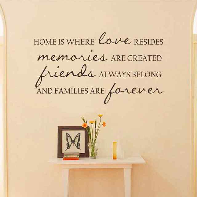 home is where love resides, memories are created vinyl quote decal