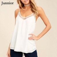 JUNNIOR Лето плюс размер 5XL сетка черный белый Camis минималистичный Спагетти ремень открытая спина сексуальные топы женские однотонные футболки