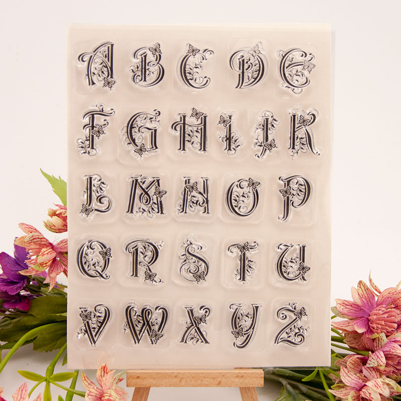 New Butterfly Pattern Letters Clear Stamps for Scrapbooking DIY Silicone Seals Photo Album Embossing Folder Paper Template Craft in Stamps from Home Garden