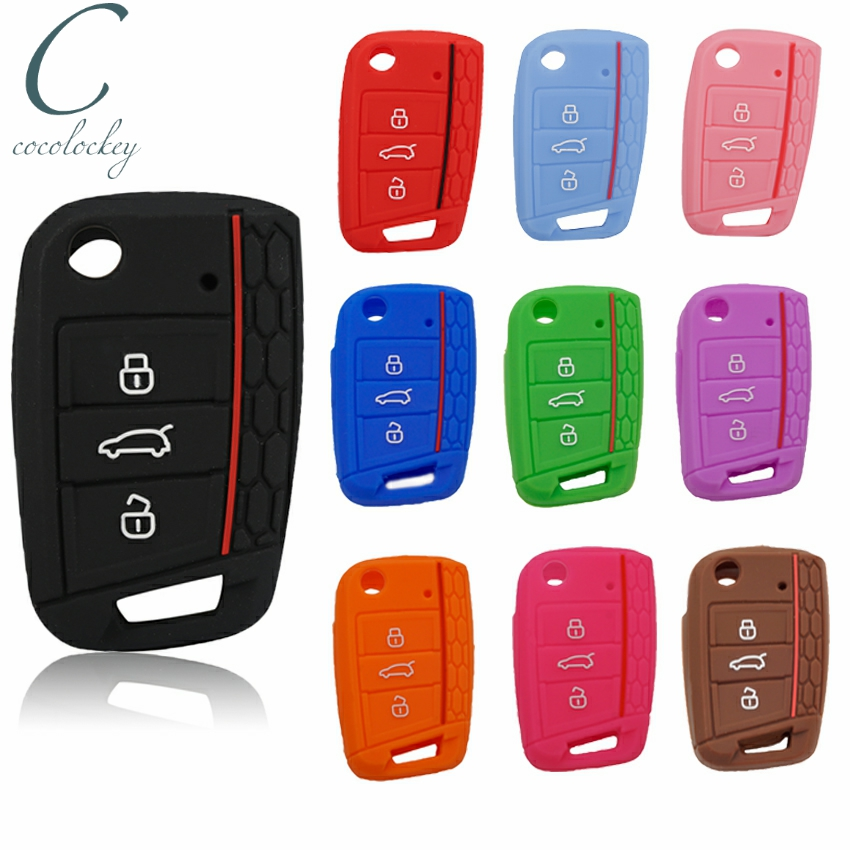 Cocolockey Silicone Car Key Cover Case Protect for VW Polo 2016 Golf 7 MK7 for Skoda Octavia Combi A7 for SEAT Leon Ibiza CUPTRA(China)