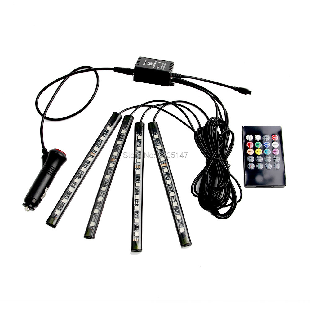 Image 2 - 4PCS LED RGB Car Interior Light Atmosphere SUV Floor Strip Lamp Remote Music Control Car Interior Decorative Lights Car Styling-in Decorative Lamp from Automobiles & Motorcycles