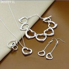 925 Sterling Silver Heart Necklace Bracelet Earring Ring Women Fashion Heart To Heart Bracelet Necklace Earring Ring Jewelry цена 2017