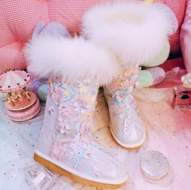 Broderie Et Vachette Plat Nouvelle Coton Hiver Femelle Perlée Automne Chaussures Fourrure Beige Nouveau 2018 Fleur Haute De Neige Main À La Renard Bottes 86qEx4U