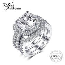 Jewelrypalace Подушка 5ct 3 шт. Обручальное кольцо Halo Пасьянс Обручение кольцо Свадебные Наборы 925 стерлингов Серебряные ювелирные изделия