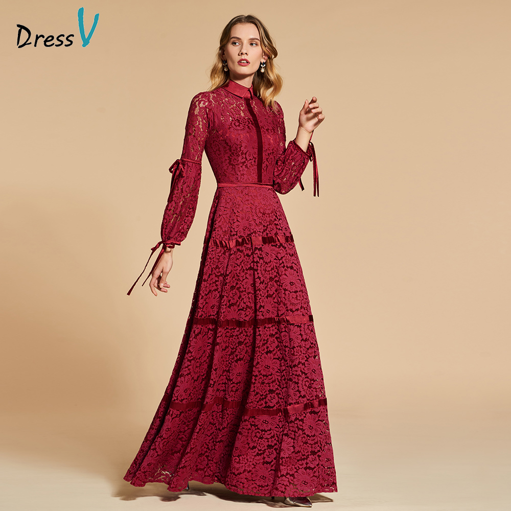Dressv Rust Red Evening Dress High Neck A Line Elegant 3/4 Sleeves Floor-length Wedding Party Formal Dress Lace Evening Dresses