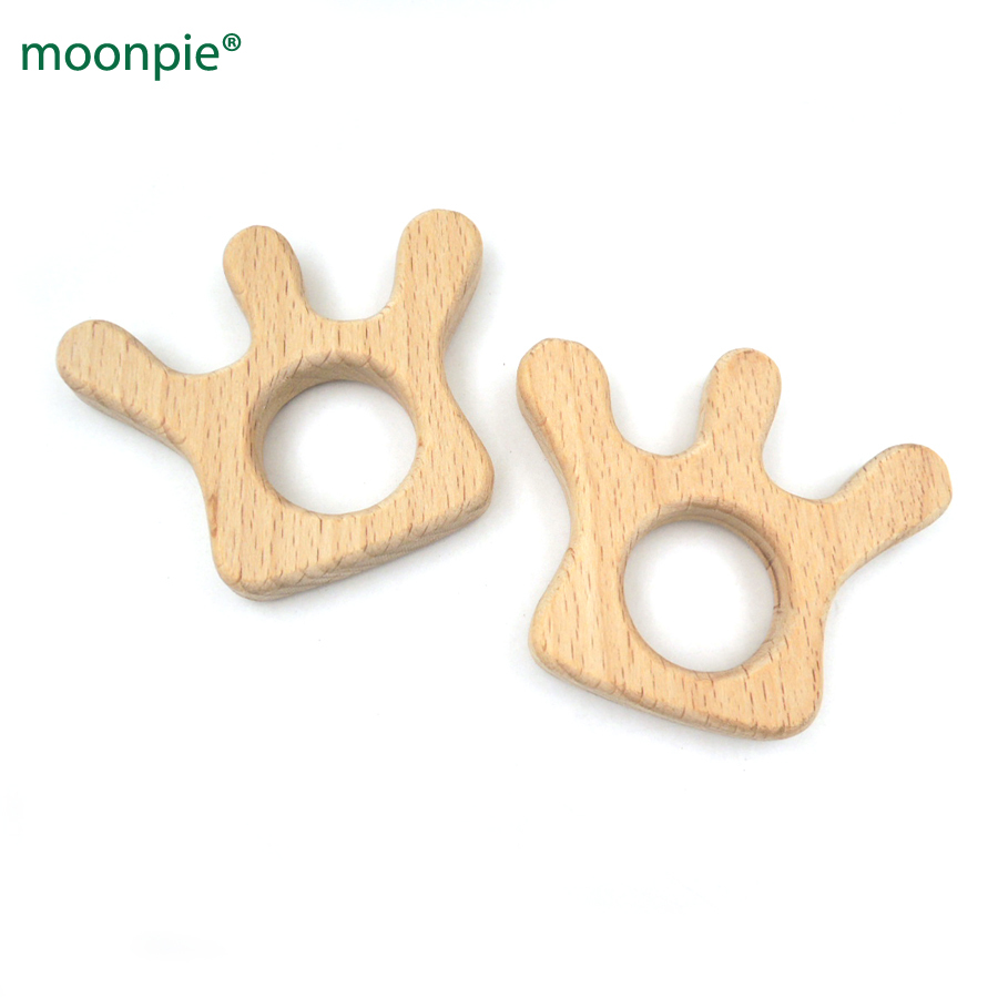 10pcs handmade princess crown shaped beech wooden  teether baby teething wooden toy gift nursing toy baby girl EA328