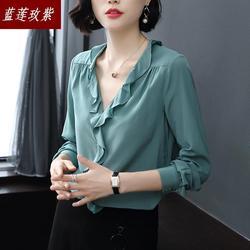 Nieuwe Lente en herfst zijde shirts blouses Vrouwelijke 2019 dame sexy V-hals Slanke Eenvoudige Lange Mouw Pure Zijde Shirt vrouwen blouse