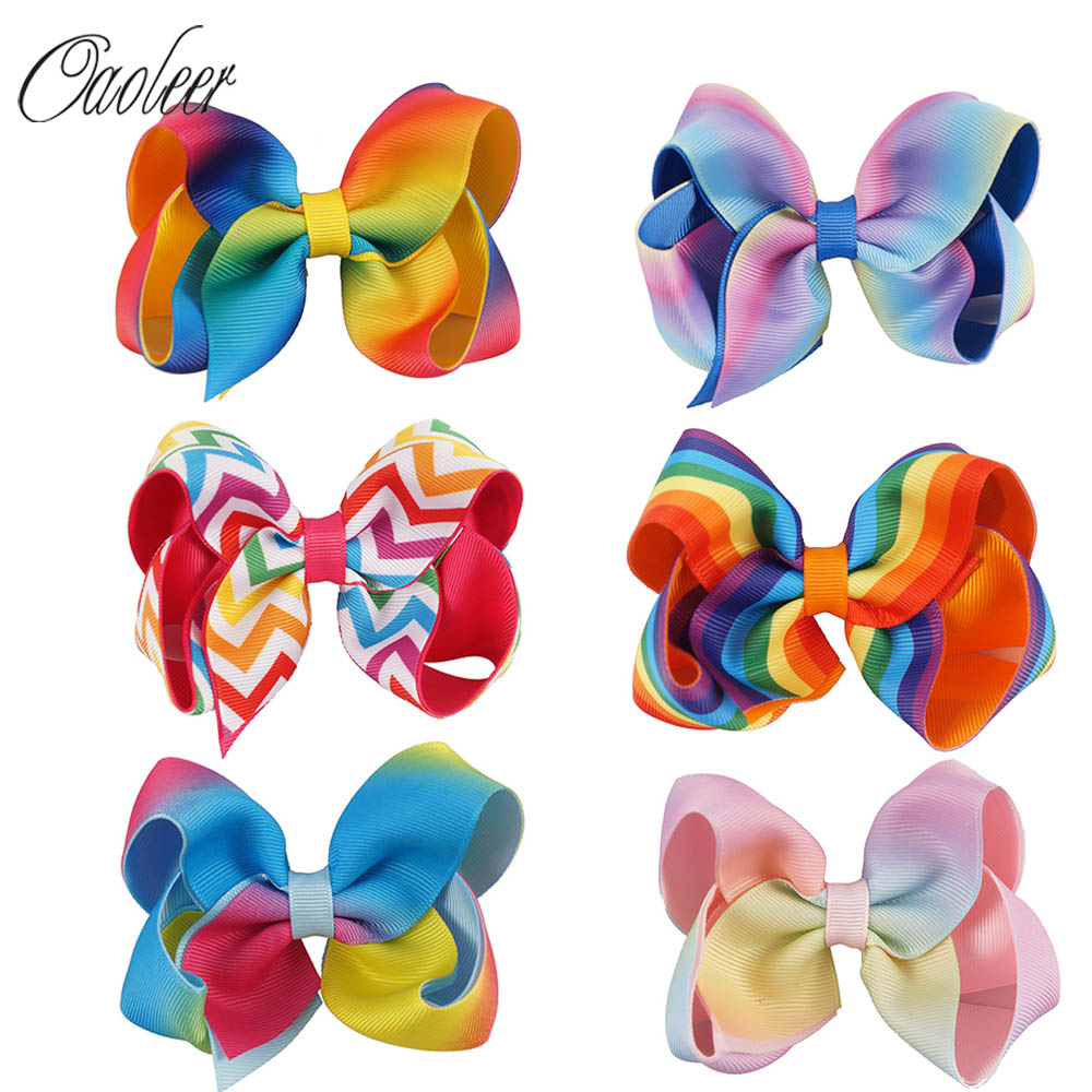 6pcs/lot 4.5 Rainbow Hair Bows With Clips Christmas Hairclip Girls Handmade Printed Ribbon Layers Hairgrips Hair Accessories