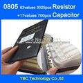 O envio gratuito de 0805 SMD Livro Da Amostra de 63 valores 3025 pcs Kit e 17 valores 700 pcs muRata YAGEO Resistor Capacitor conjunto