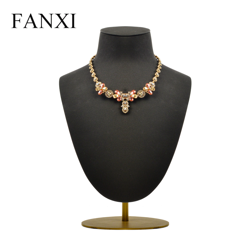 FANXI New Necklace Display Stand Bust Microfiber with Adjustable Metal Rack for Necklace Pendant Exhibition Shop