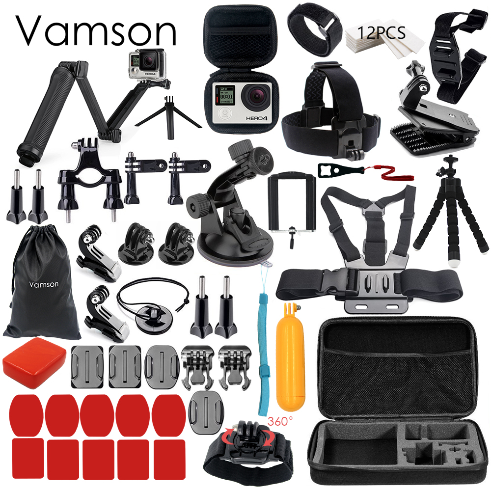 Vamson for Gopro Accessories Set for go pro hero 6 5 4 3 kit 3 way selfie stick for Eken h8r / for xiaomi for yi EVA case VS77 ri 008 activity connection chain accessories for gopro hero 4 3 3