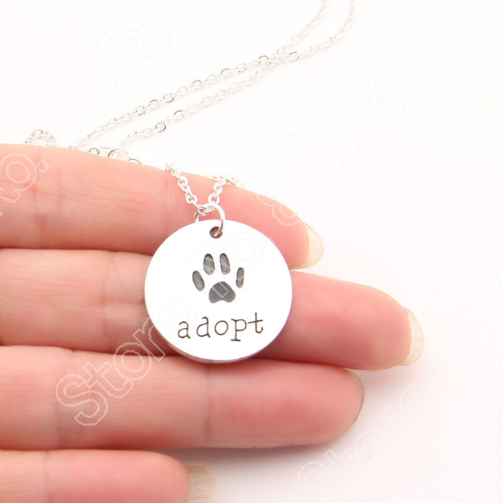 Adopt Dog Necklace Cat Paw Print Necklace Memorial Tag Necklaces & Pendants Silver Plated Women Choker Gift Charm Lead Free