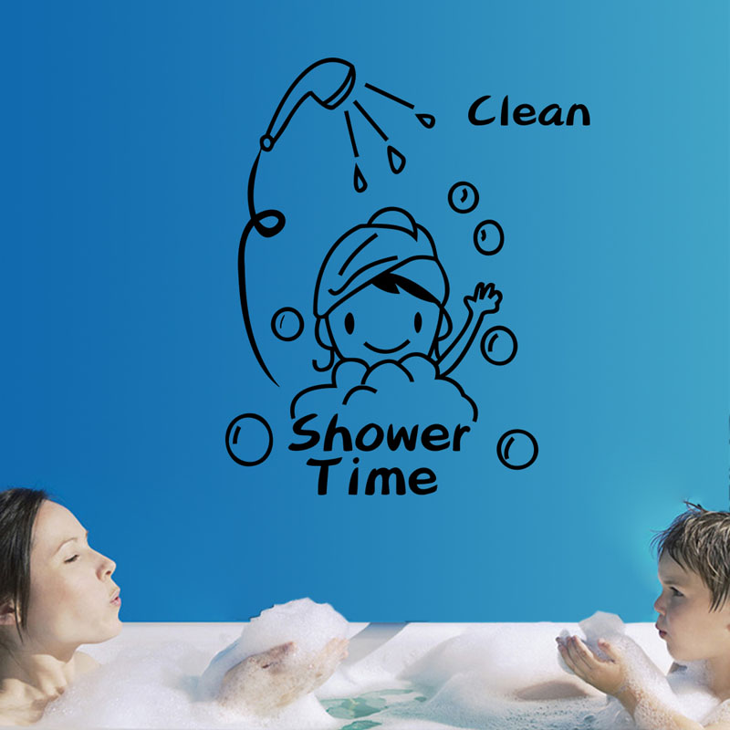 Free Shipping Removable PVC Shower Time Pattern Bathroom Toilet Wall Sticker Home Decor